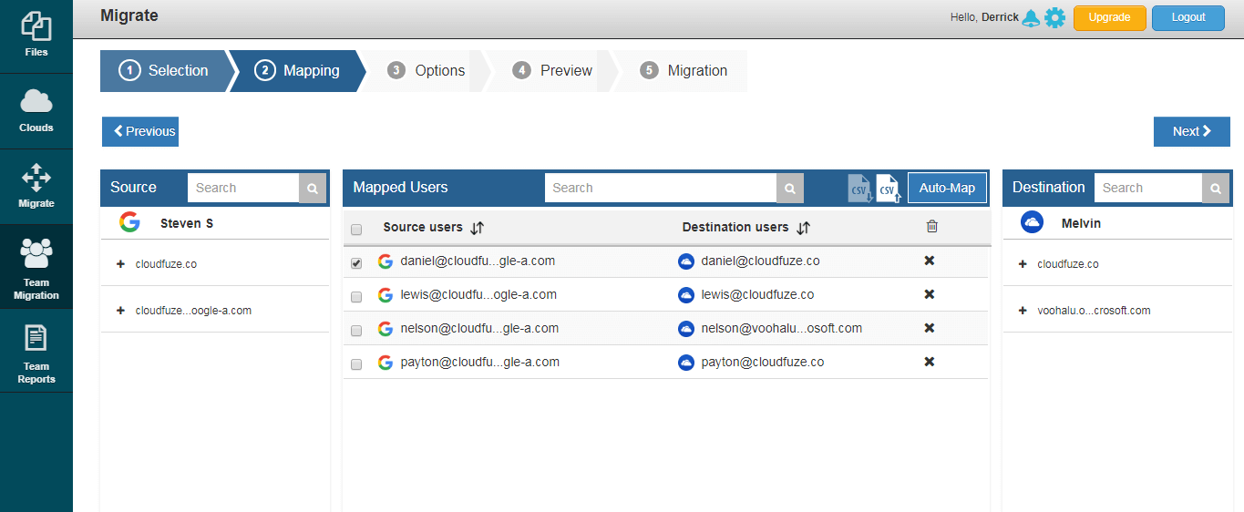 select users for migration
