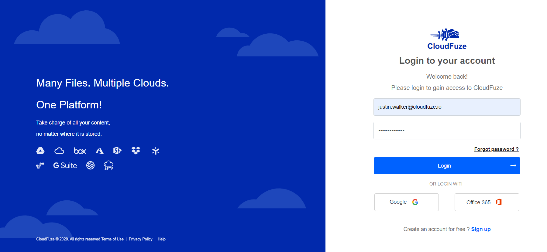 Login Credentials for CloudFuze Webapp
