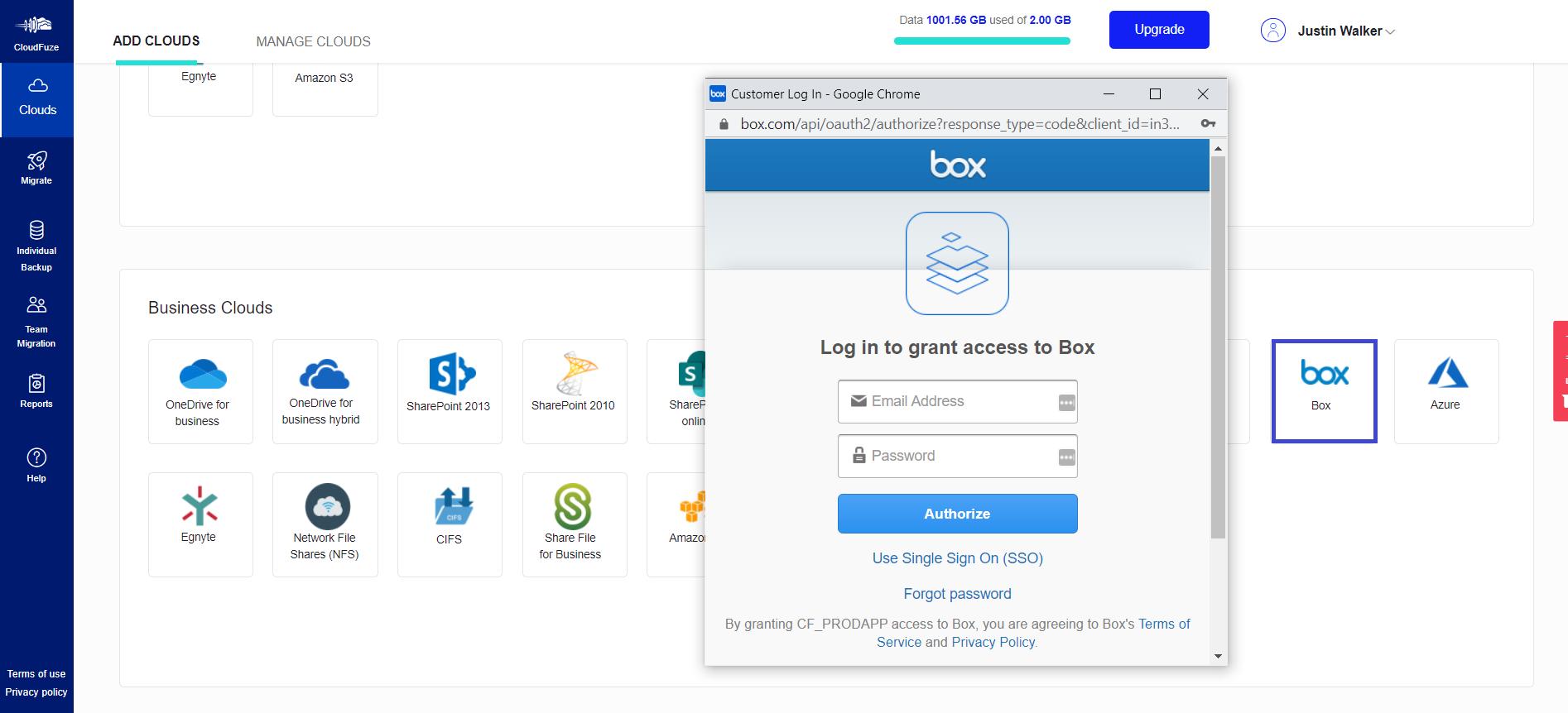 Enter Box Authorization