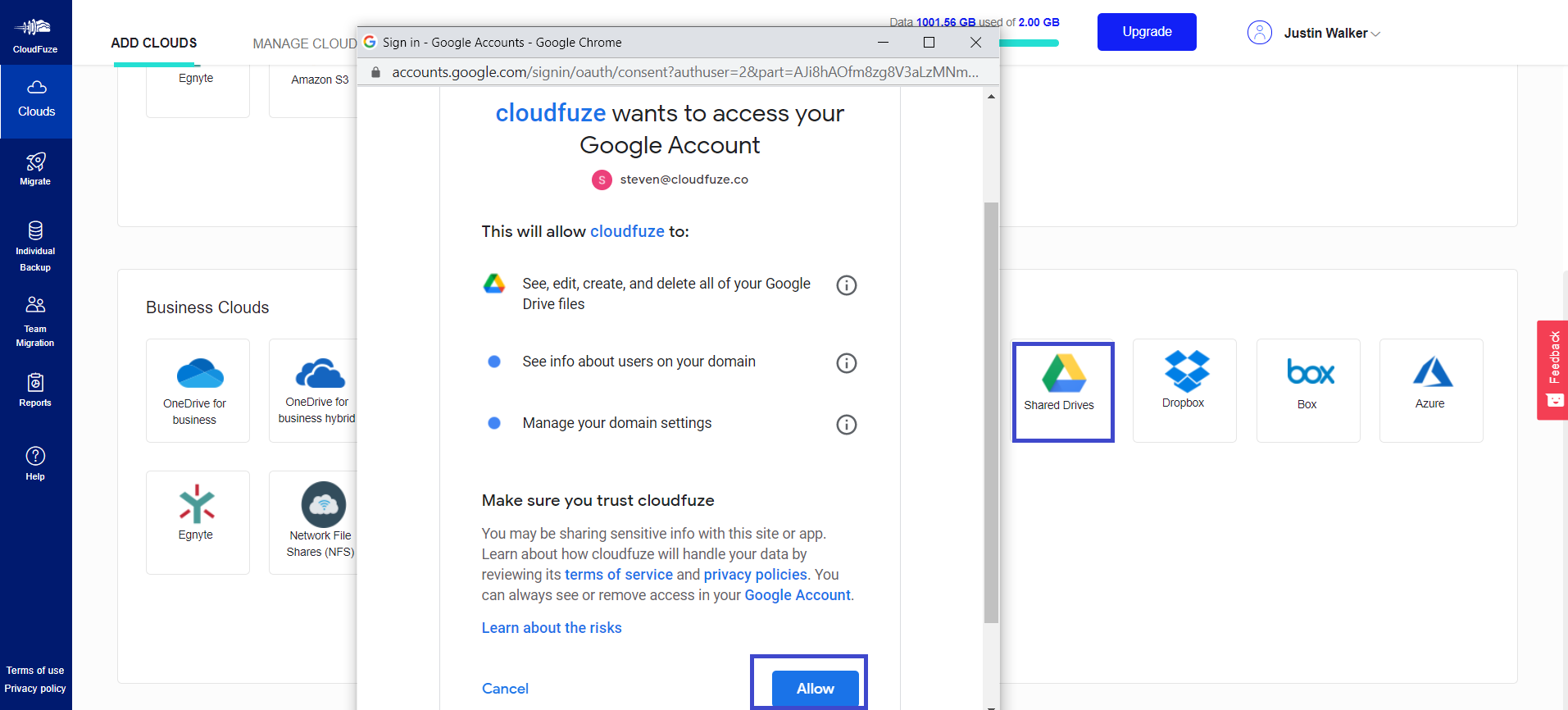 Authorize Google Shared drives