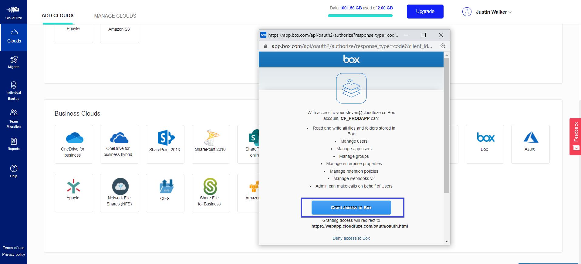 Provide access to Box account
