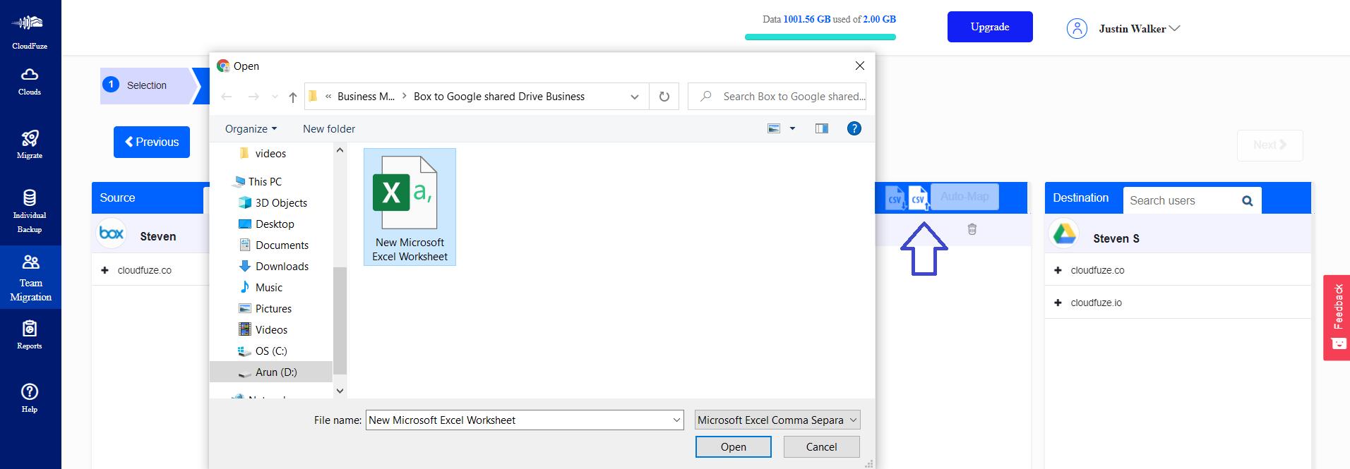 Upload Excel file